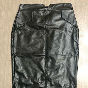 Below knee black faux leather skirt